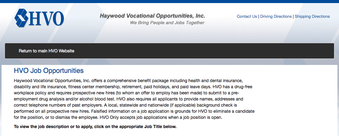 Haywood Vocational Opportunities Inc.